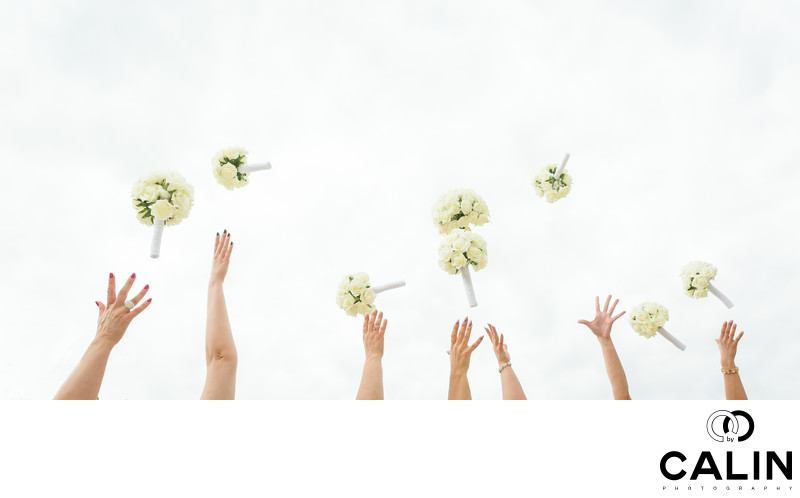 Bridal Party Throws Bouquets in the Air
