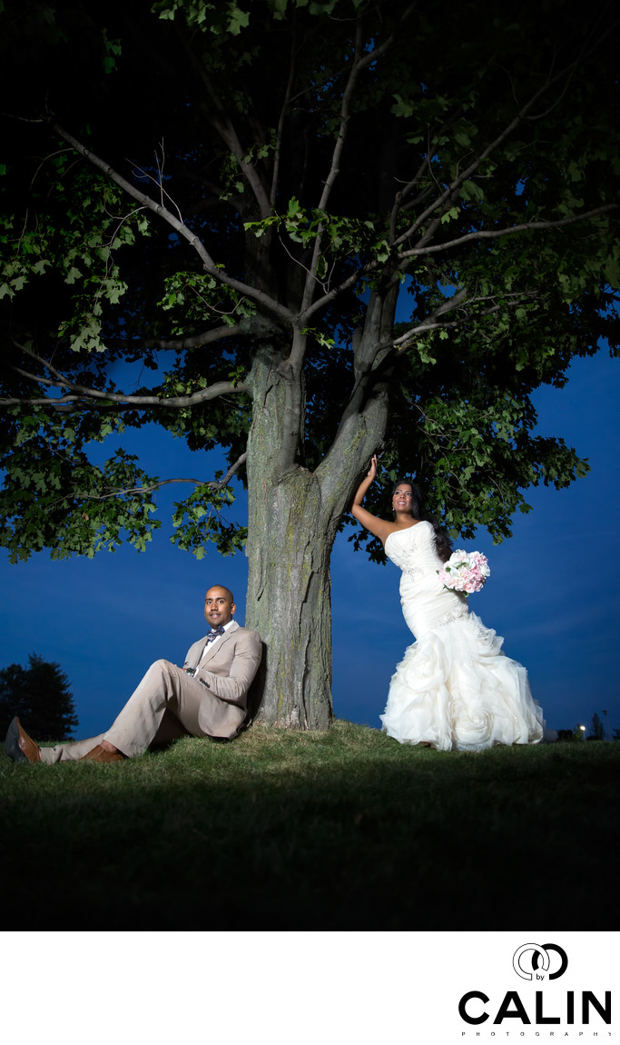Bride and Groom by a Tree