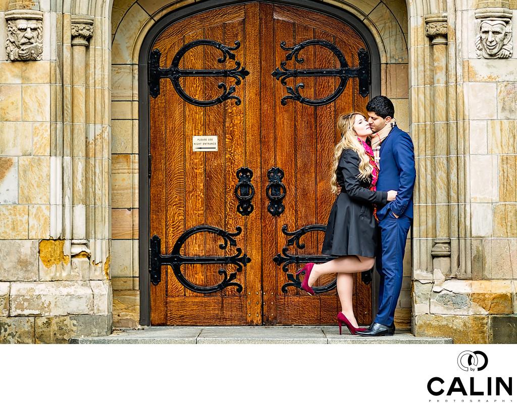 Engaged Couple Trinity College Toronto