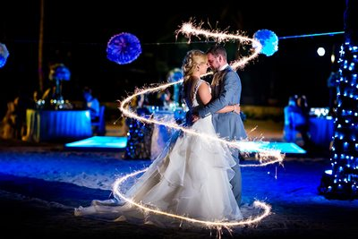 Barcelo Maya Palace Deluxe Wedding Portrait & Sparklers