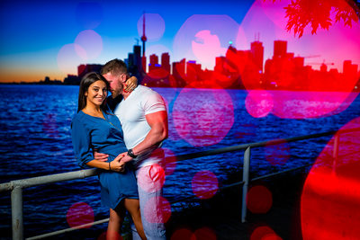 Night Engagement Photo Toronto Skyline