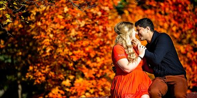 Engagement Photo With Red Maple