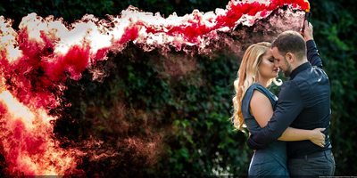 Engagement Photo With Red Smoke