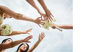 Bridesmaids Reach for the Bouquet