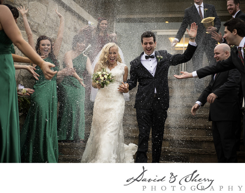 Winter Wedding at Cambridge Mill Stairway Exit