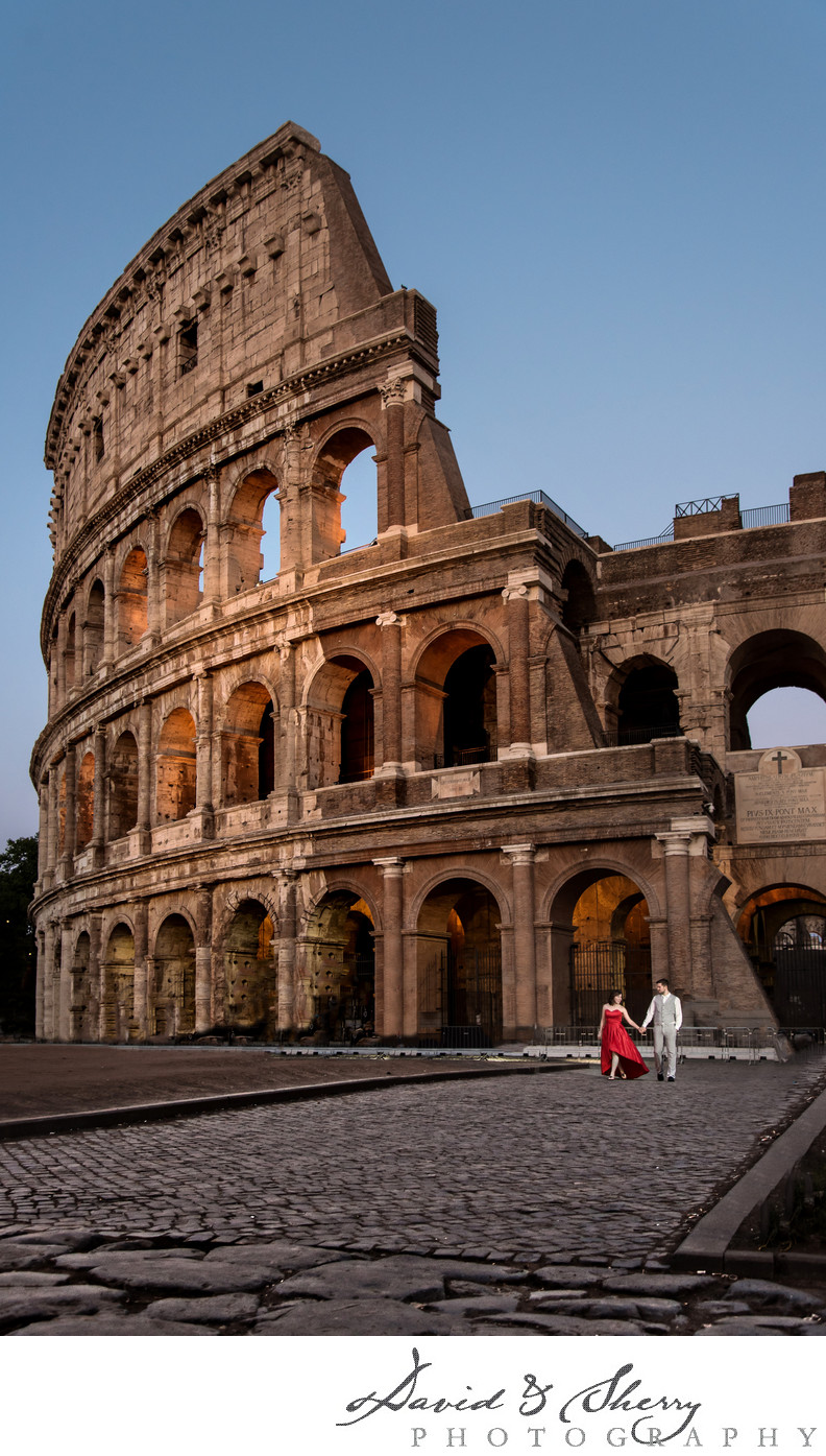 Rome Italy Destination Pre-Wedding Photos at Colosseum