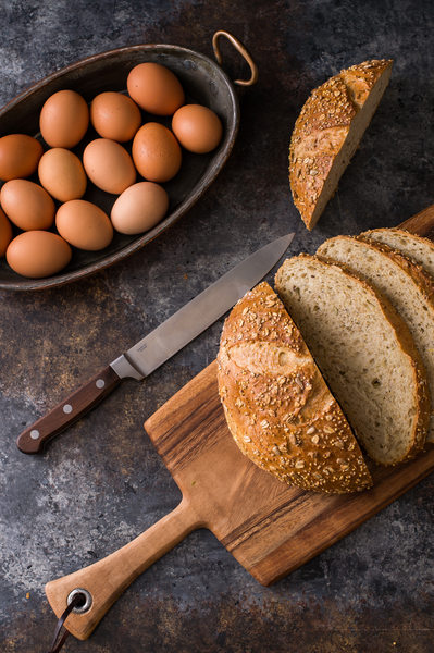 Homemade Bread and Eggs