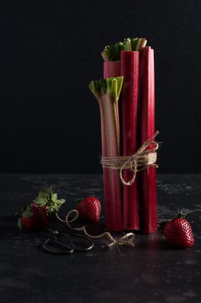 Rhubarb Strawberry Still Life