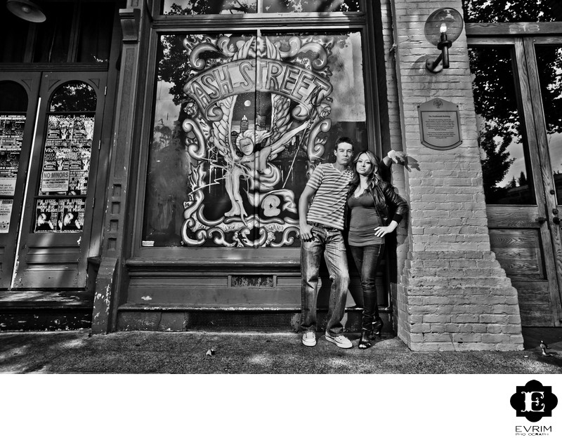 Downtown Portland Engagement Picture