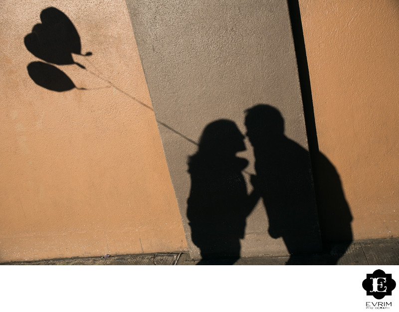 Artistic Engagement Portrait with Shadow