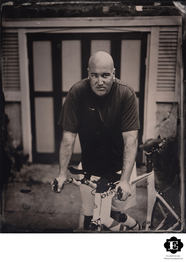 Tintype Bicyclist outdoor