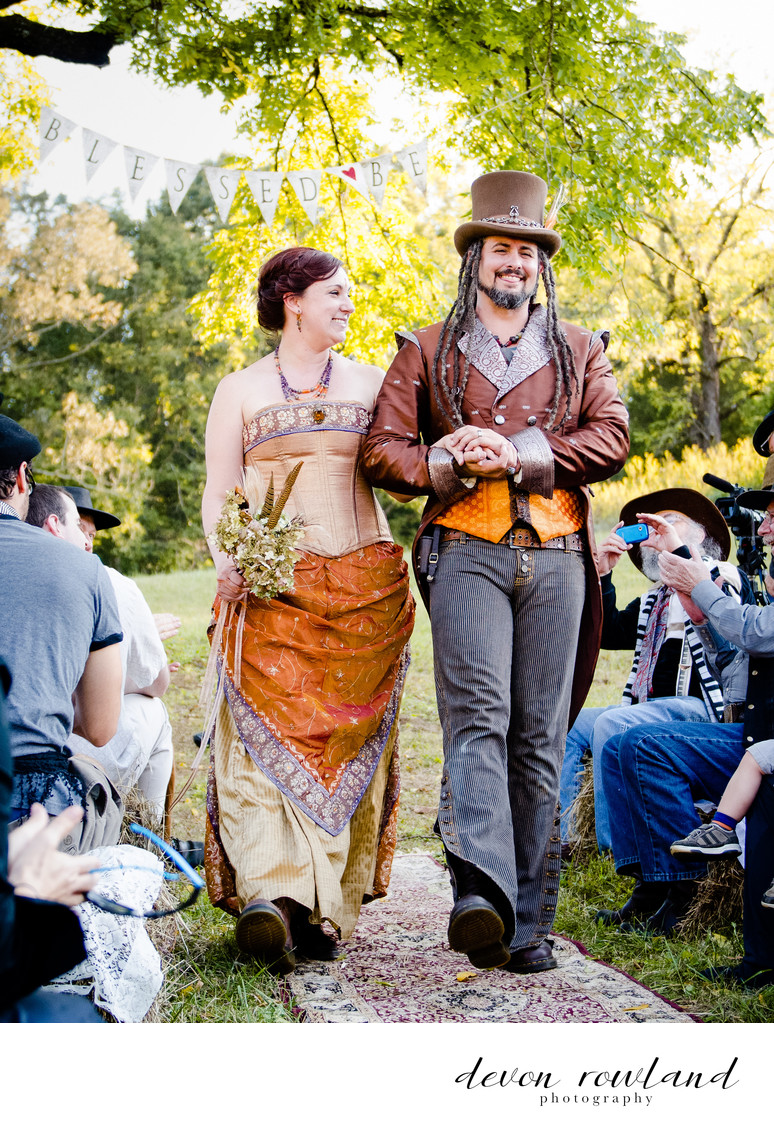 Steampunk Virginia Couple Celebrate Handfasting at Home