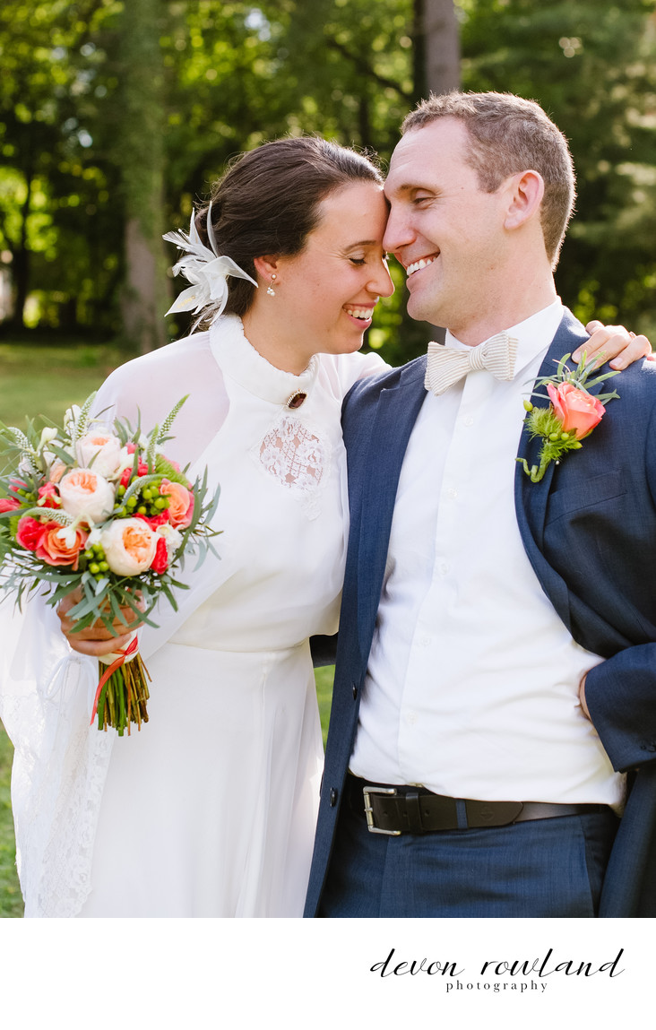 Vintage Wedding Couple Laugh and Smile Together in PA