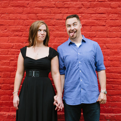 Quirky Portrait of Engaged Couple in Downtown Annapolis