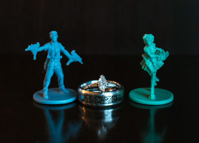 Wedding Rings with Nerdy Tendencies and Game Miniatures
