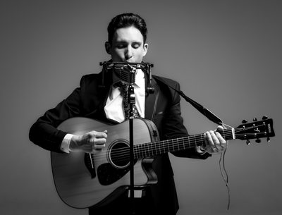 Dramatic Black and White Musician Pic