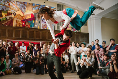 Swing Dance Jam Circle Photo with Crazy Aerial Moves!