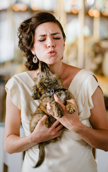 Glamorous Bride and Puppy Kisses, Destination Wedding
