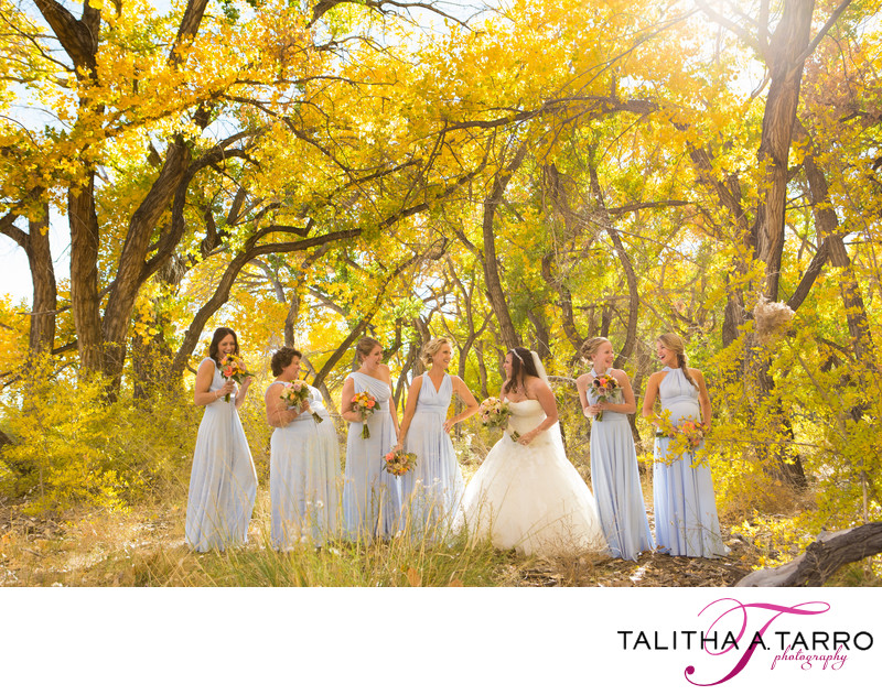 Bridesmaids at Hyatt Tamaya during the fall