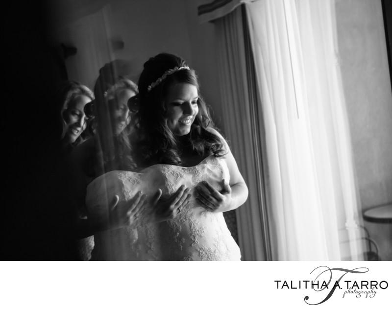 Bride getting ready at the Hyatt Tamaya