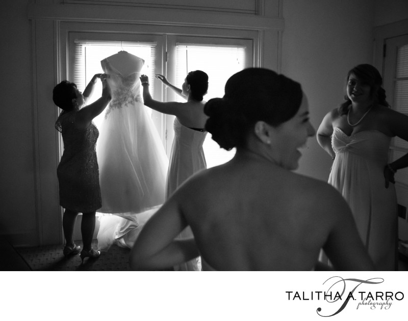 Bride getting ready at Bishops Lodge