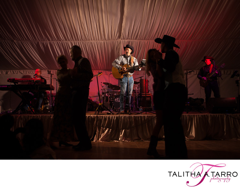 A live country band playing during a wedding reception