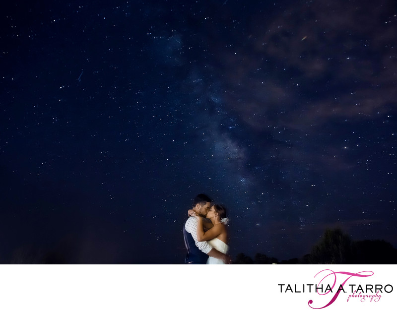 Bride and groom under the stars at Nature Pointe