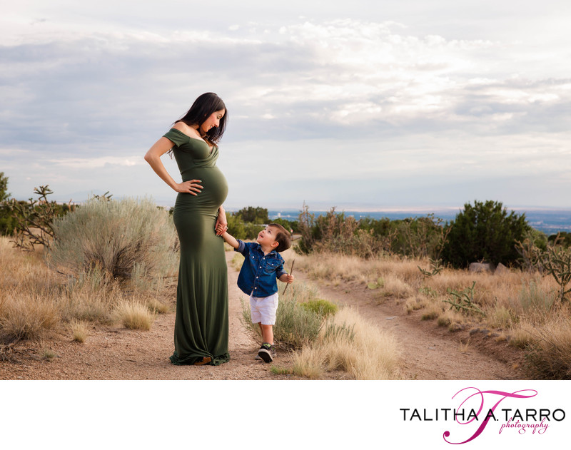 Mother and son maternity session