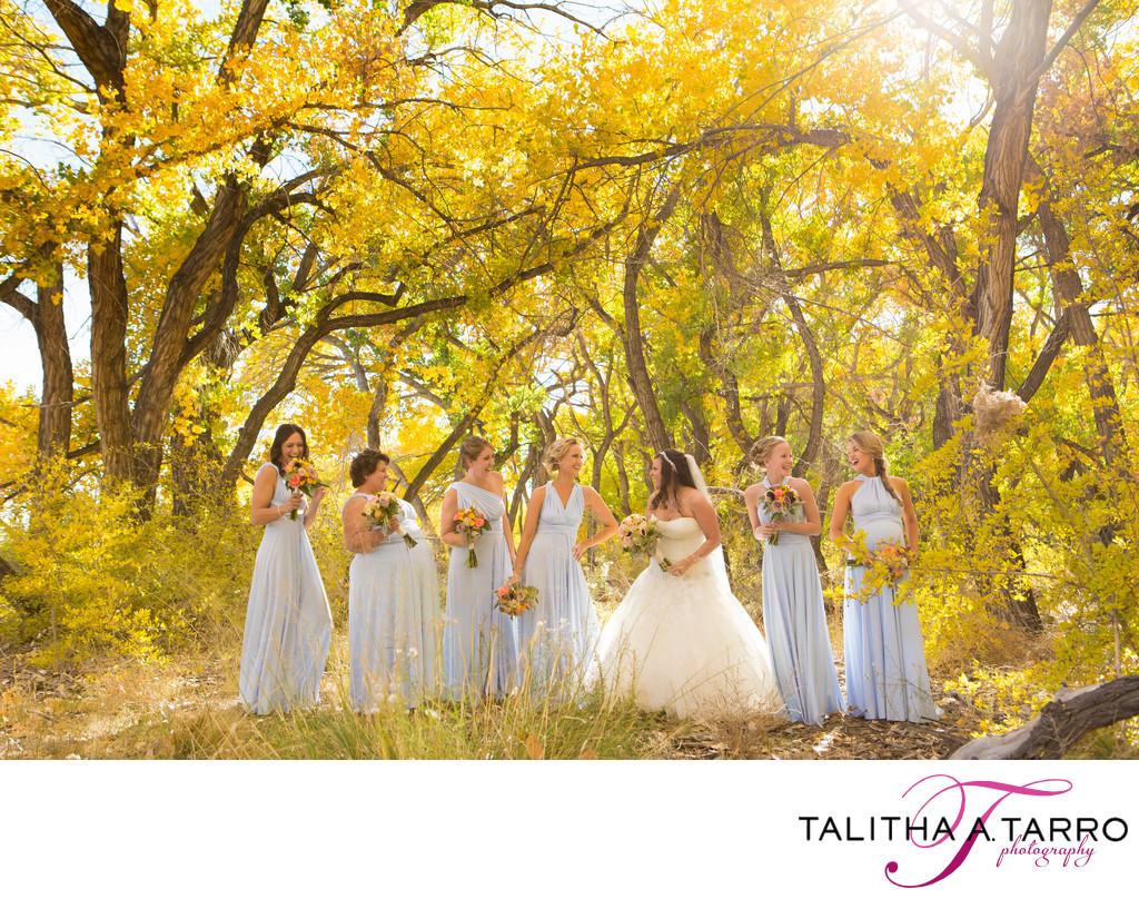 Bridesmaids at Hyatt Tamaya during the fall