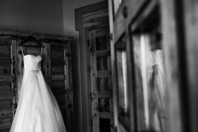 wedding dress hanging at nature pointe