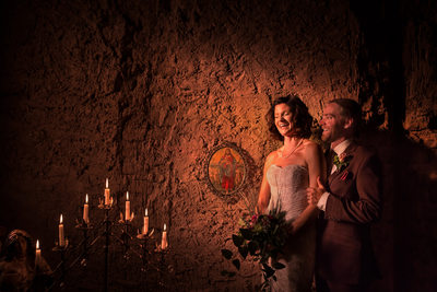 Candle light in the wedding chapel