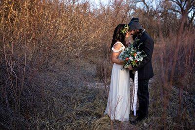 sunrise wedding portraits in the bosque