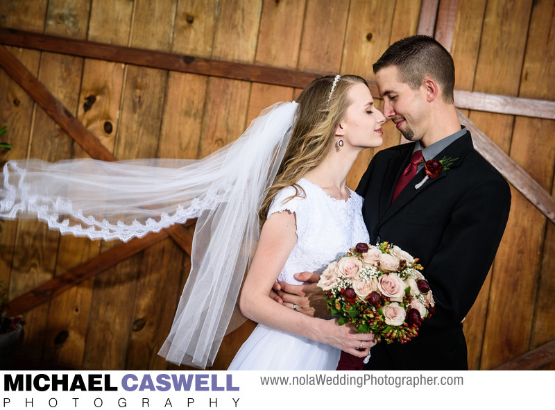 Bride and Groom at Berry Barn Wedding in Hammond
