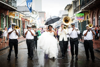 Kinfolk Brass Band Wedding Second Line Parade in French Quarter