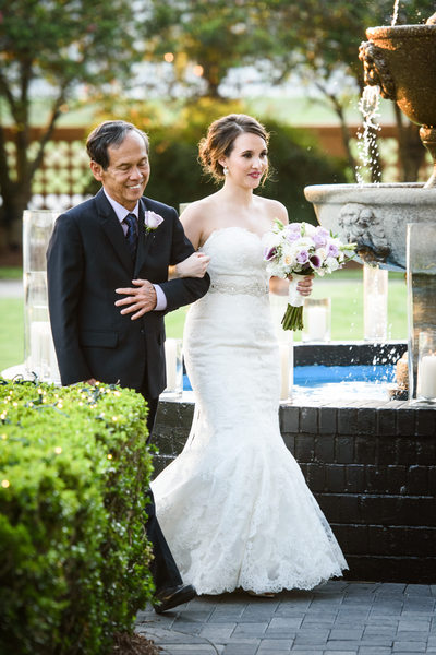 Bride and Father Processional at Southern Oaks