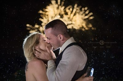Gold Coast Wedding Photography with Fireworks and Rain.