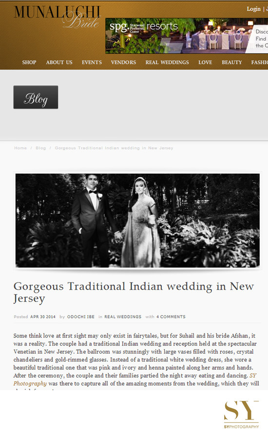 NJ Indian wedding photographer published in Munaluchi bride