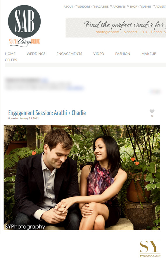 SouthAsian Bride Magazine NYC engagement photographer