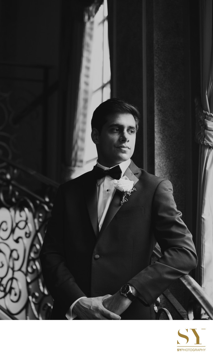 NYC groom portrait black and white photograph