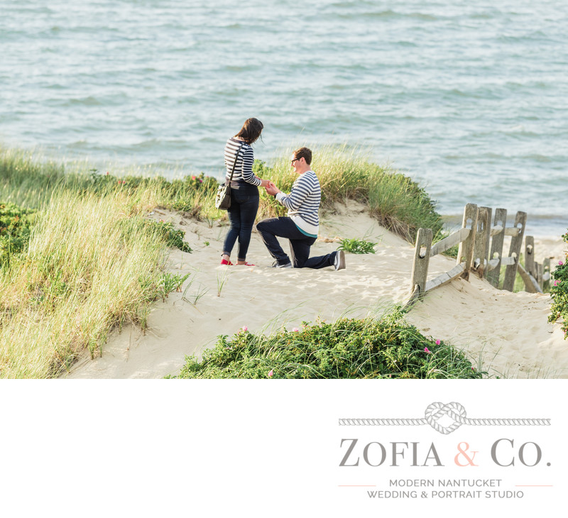 nantucket marriage proposal one knee steps beach