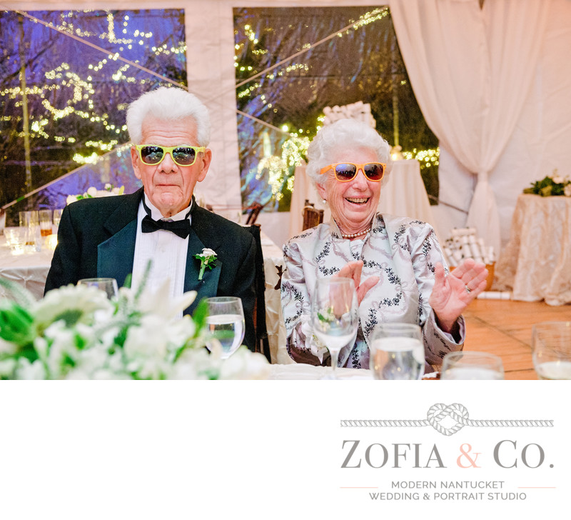 fun Nantucket Wedding grandparents in sunglasses