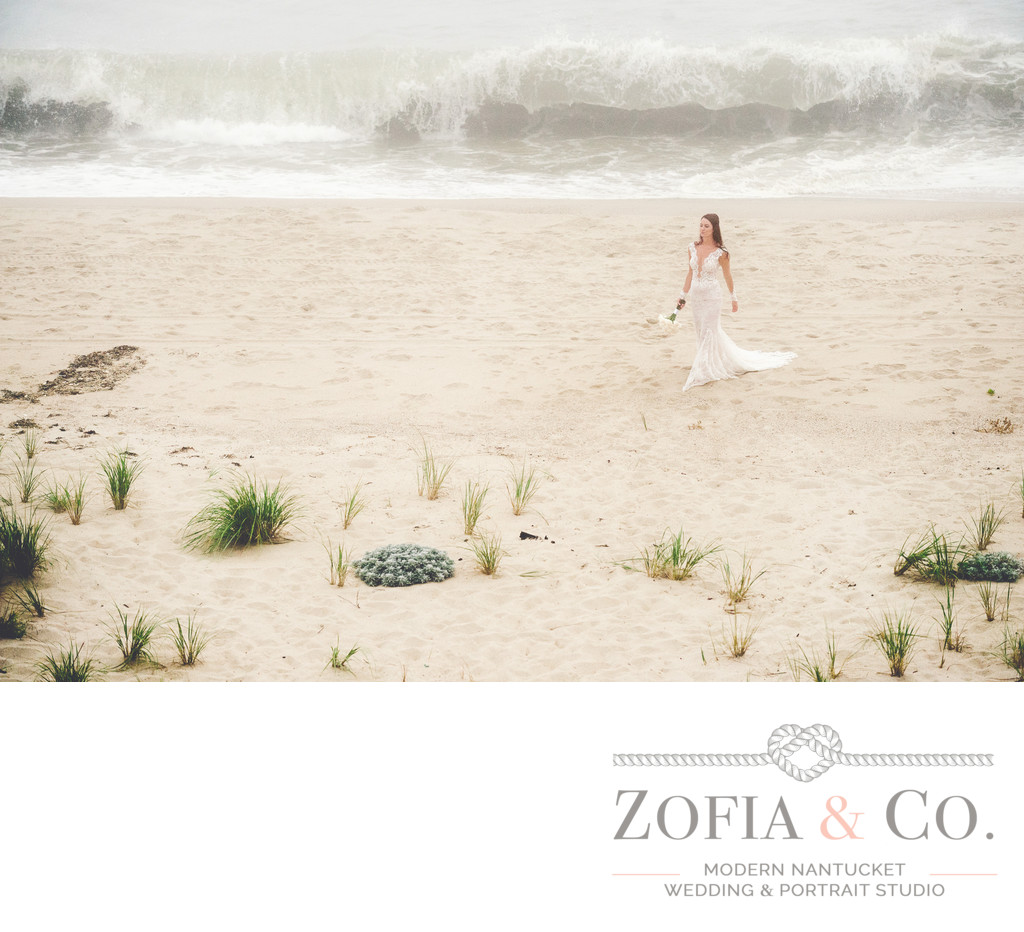 foggy beach nantucket bride in tom nevers