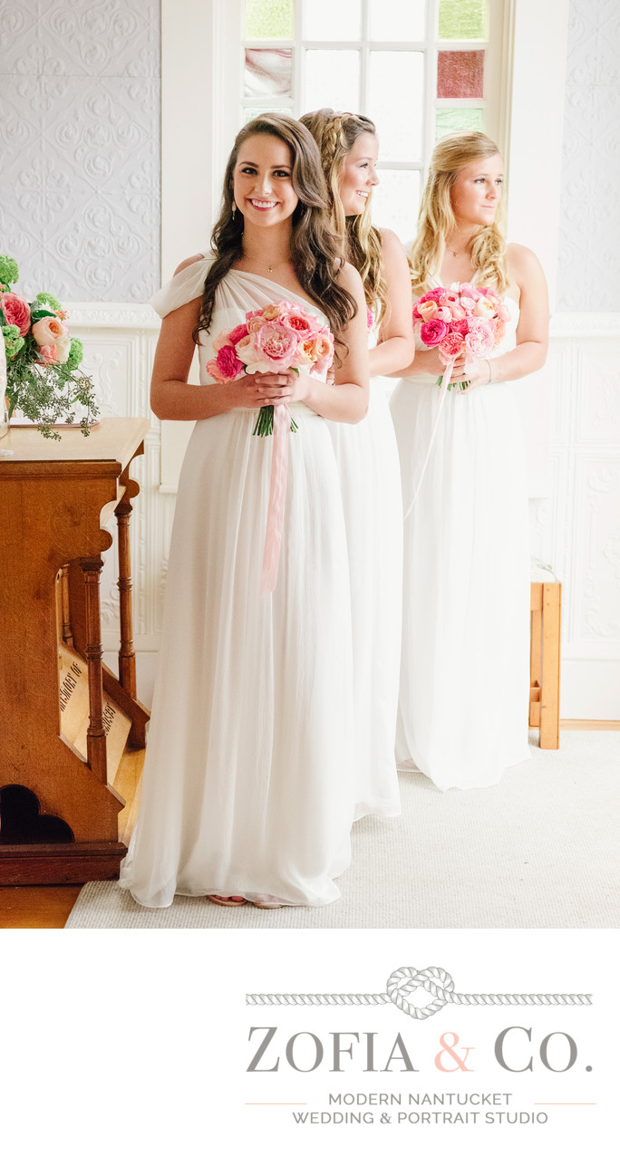 bridesmaids with pink bouquets sconset chapel