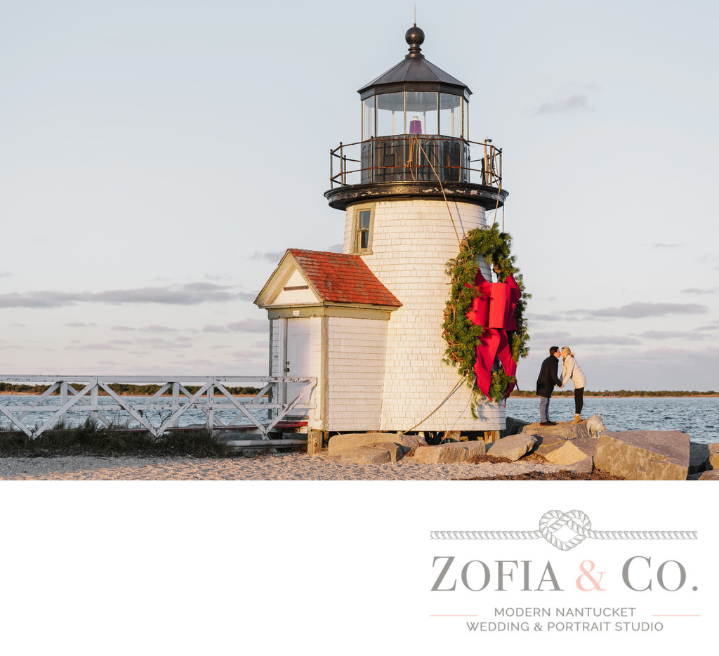 ACK Stroll engagement Brant Point christmas wreath