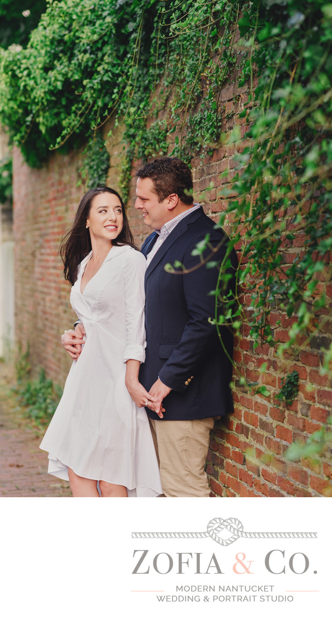 downtown nantucket ivy brick wall engagement session