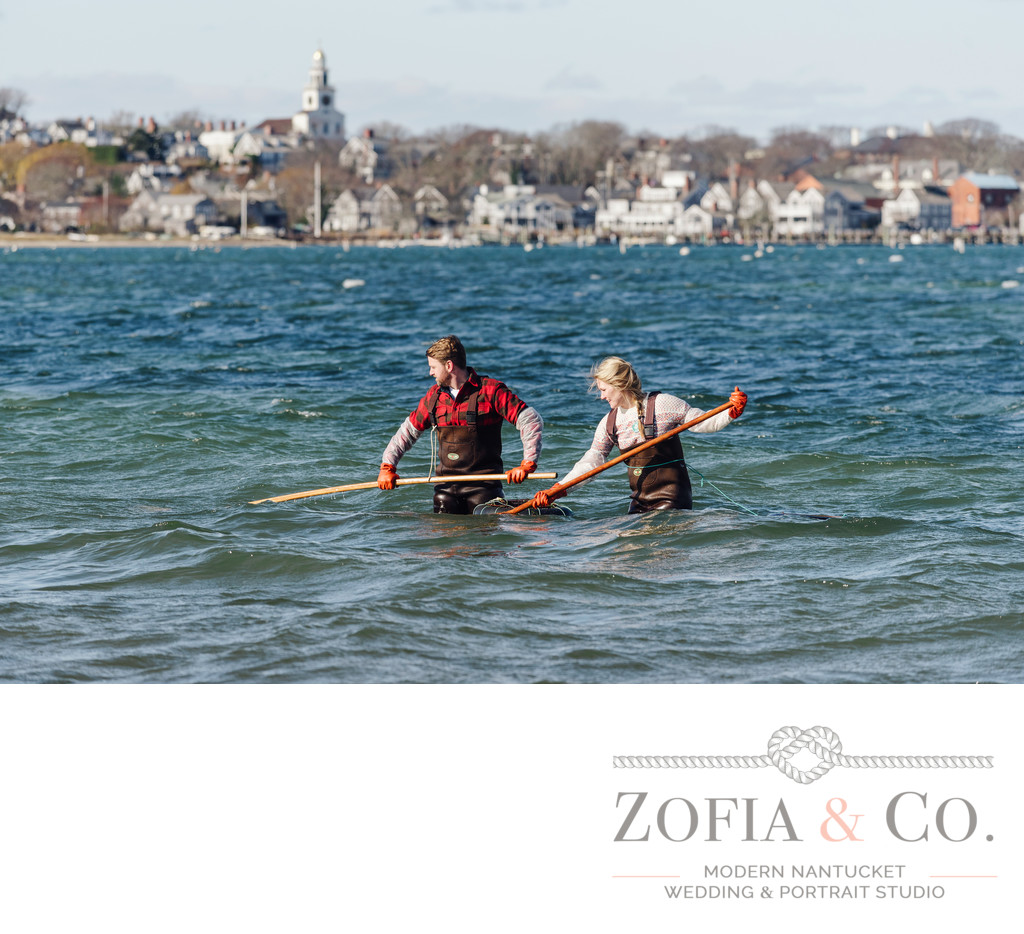 nantucket scalloping engagement monomoy beach