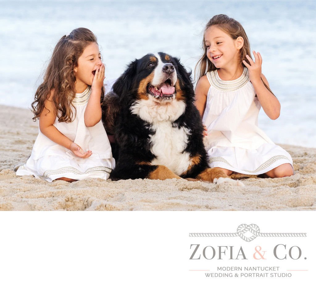 sisters with Bernese Mountain Dog at miacomet beach