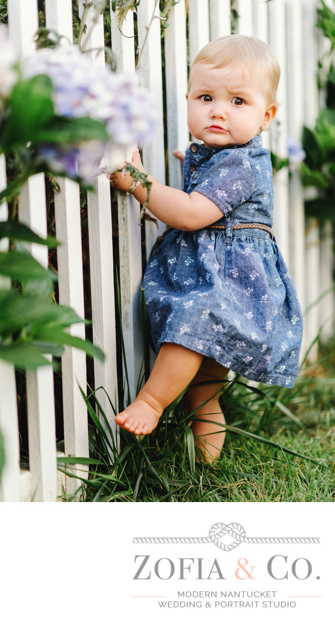 baby girl in denim with fence and hydrangeas