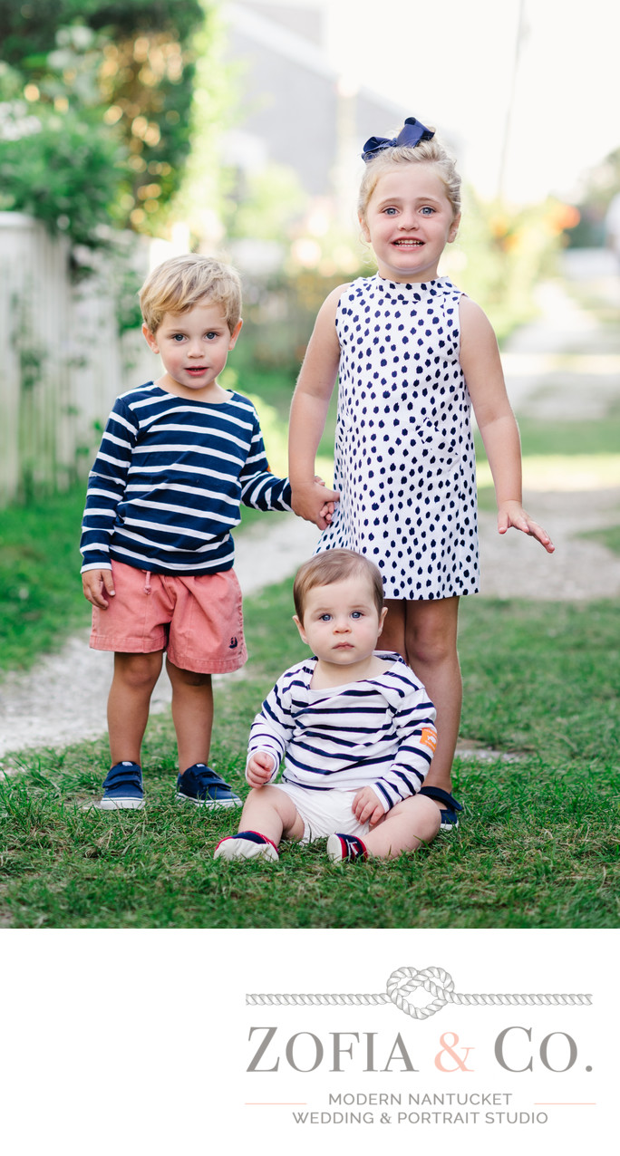 cute siblings portrait in Sconset Nantucket