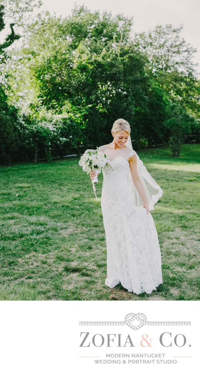 Bride at Oldest House Nantucket with lace veil